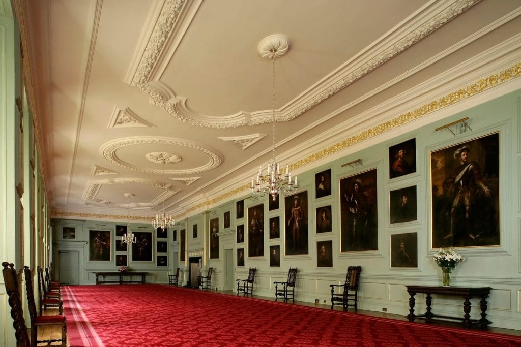 The Great Gallery is filled with portraits of Scottish Monarchs. -