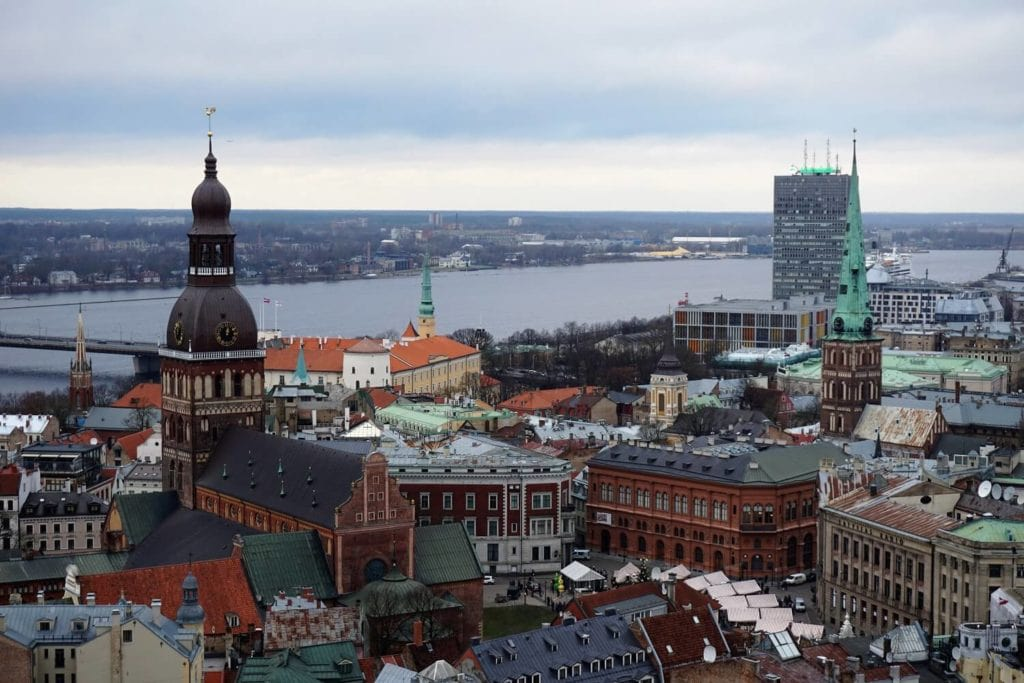 You get a great view of the Riga Cathedral from the observation deck of St. Peter's Church.
