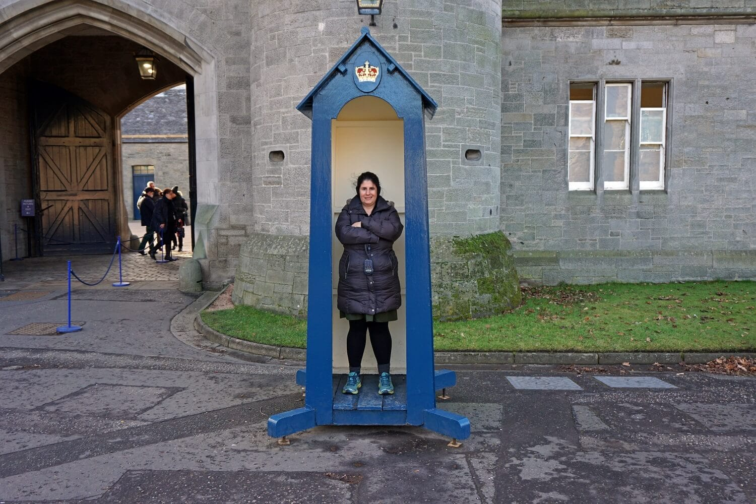 "Anisa posing in one of the guard houses.- ""Inside Holyrood Palace"" - Two Traveling Texans"