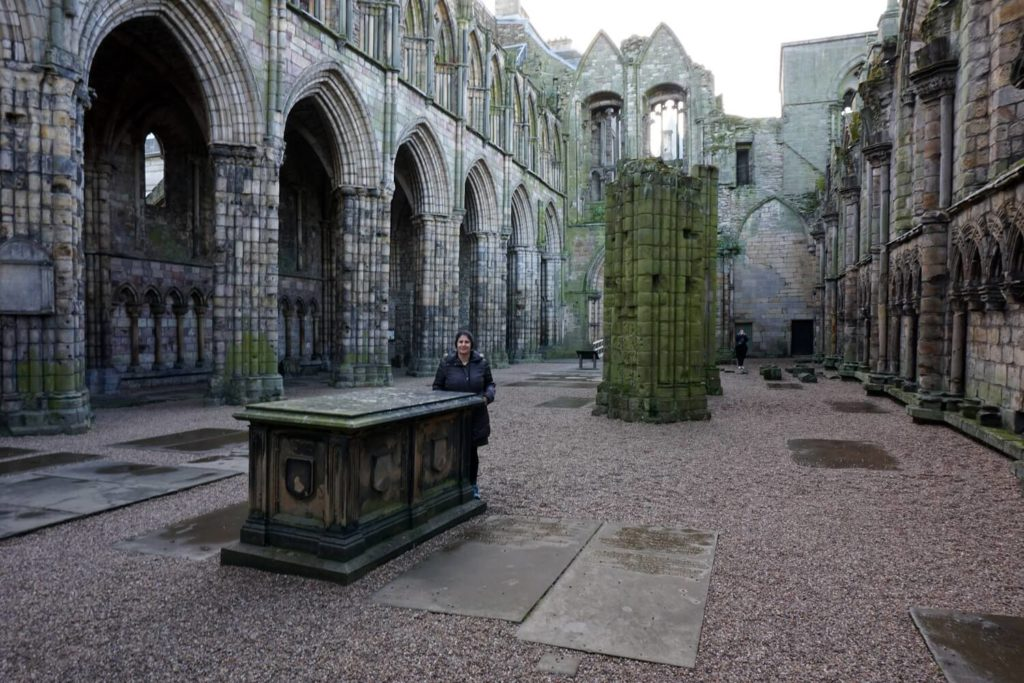 Anisa inside the ruins of Holyrood Abbey.-