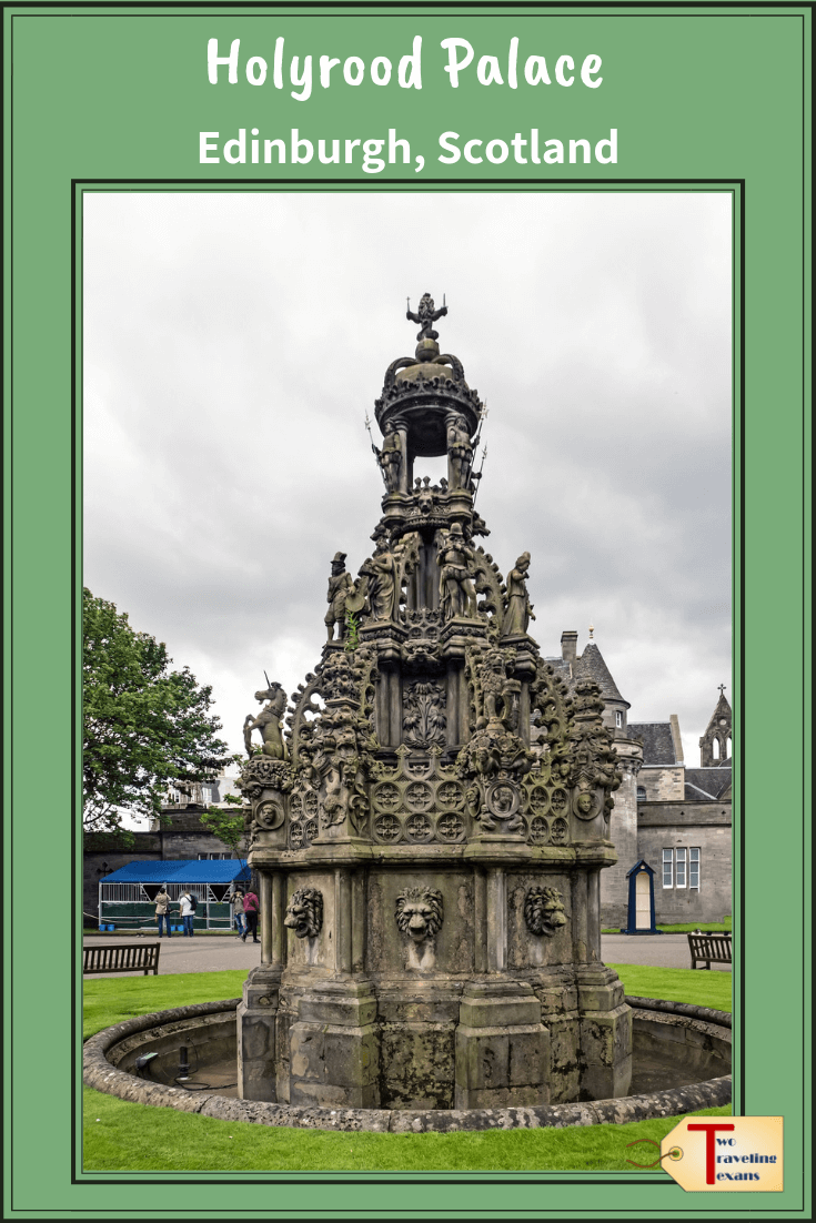 fountain in front of holyrood palace in edinburgh scotland