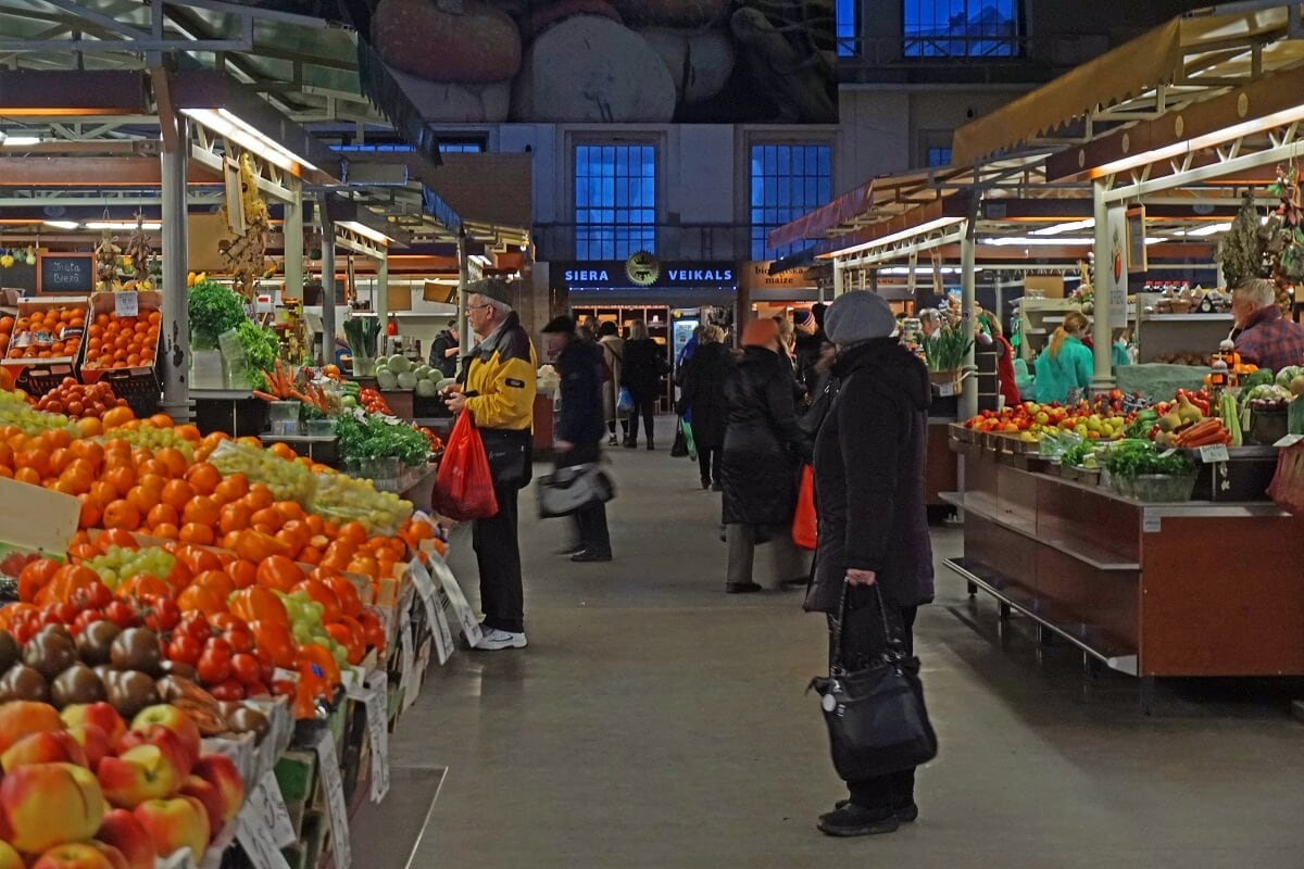 Lots of options for different fruits and vegetables at Riga Central Market. -