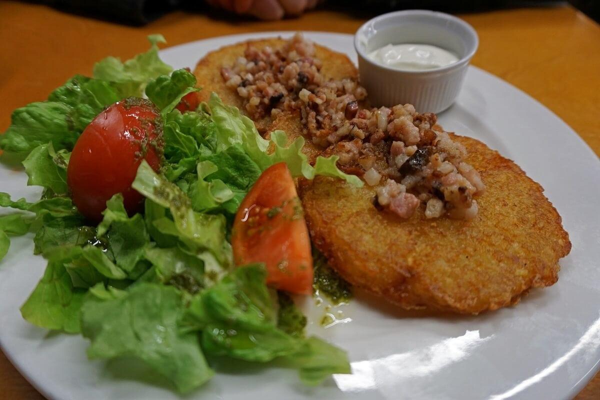 The potato pancakes are a Latvian staple. -