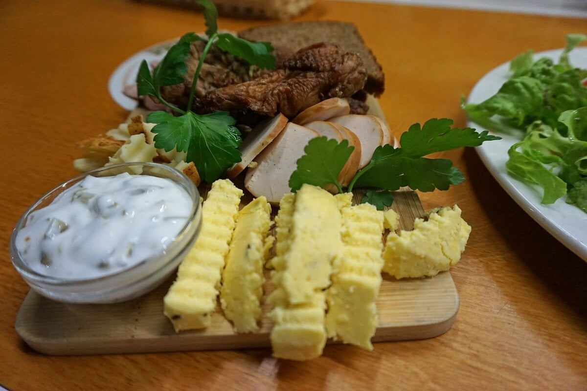 Our meat and cheese plate. The cheese was cut link crinkle fries. -