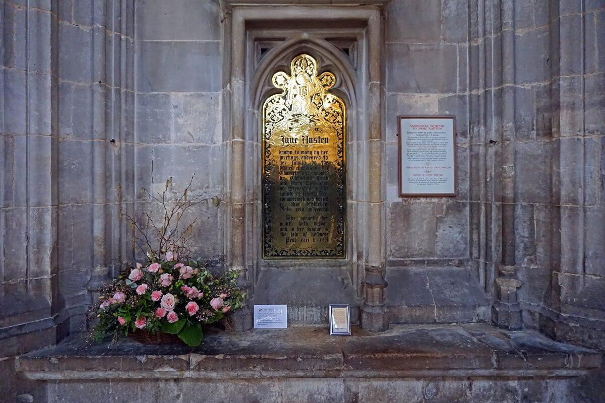 Jane Austen Memorial inside Winchester Cathedral -