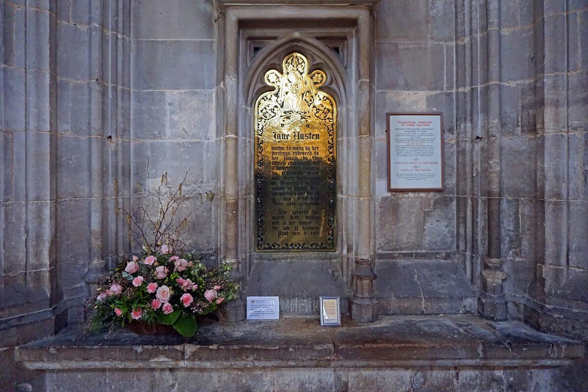 Jane Austen Memorial inside Winchester Cathedral -