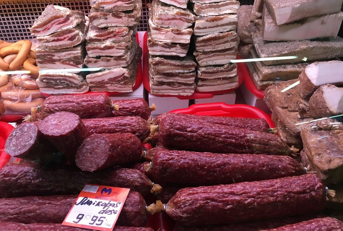 The selection of sausages and hams at Riga Central Market was impressive. -