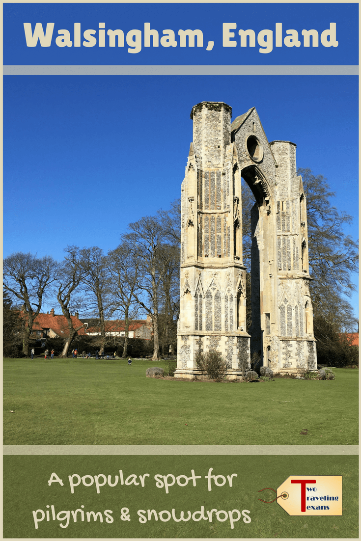 Why do so many people visit the small village of Walsingham England? Find out about the Walsingham pilgrimage and the English snowdrops at Walsingham Abbey.  Walsingham Shrine | Walsingham Norfolk | Pilgrimage Europe | Snowdrop Flower | Religious Sites | English History | English Reformation Henry VIII