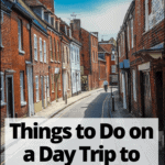 """street in Winchester England with text overlay """"things to do on a day trip to winchester"""""""