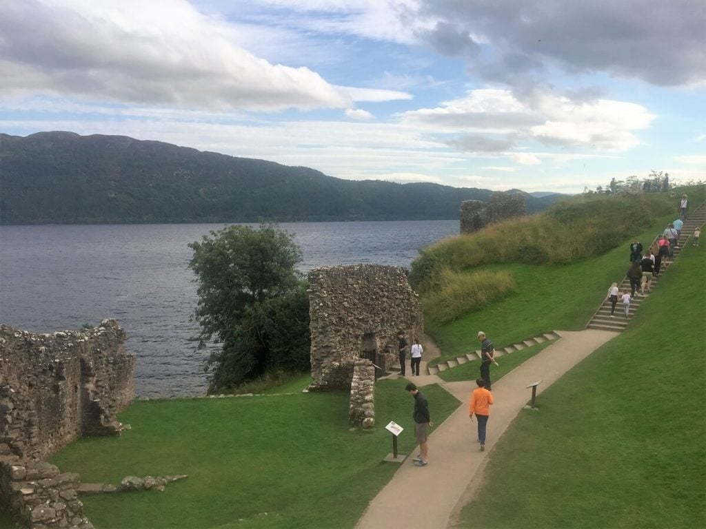 You can see the steps leading down to Loch Ness from the castle.