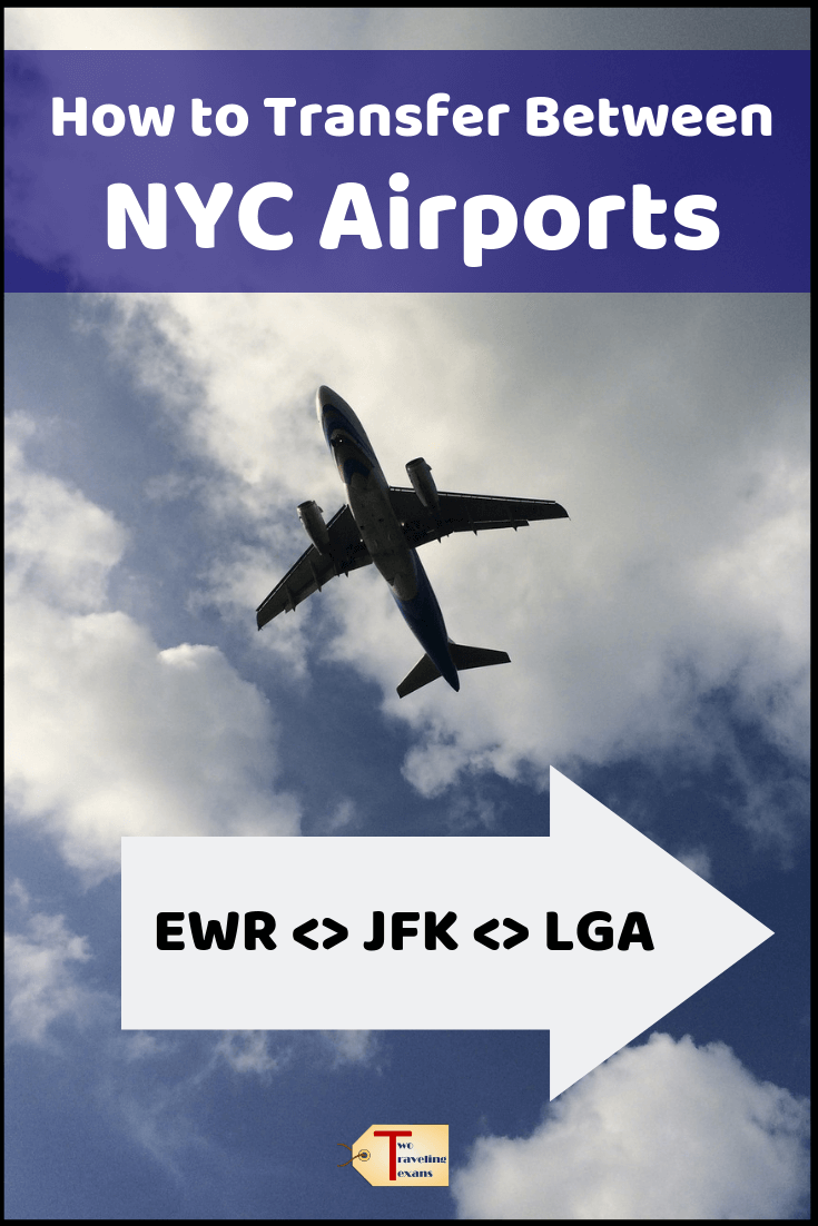 "airplane in the sky with text overlay ""how to transfer between NYC airports - EWRJFKLGA"""