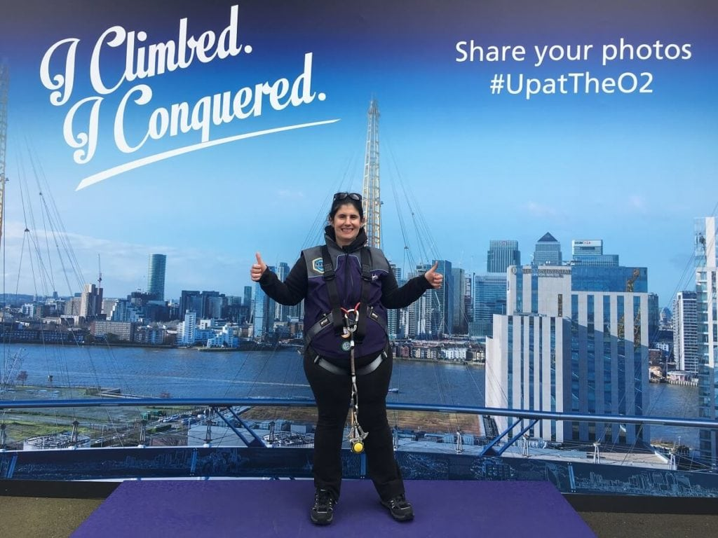 My celebratory photo after climbing The O2. - Climb The O2: A London Icon - Two Traveling Texans