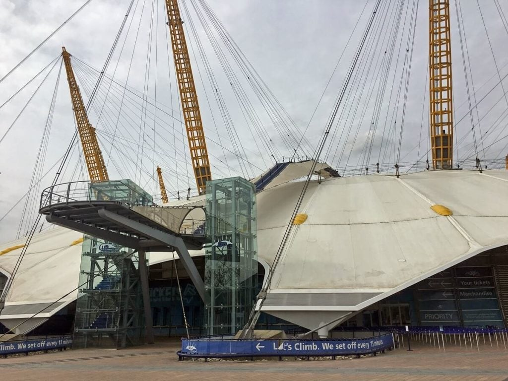 Here you can see the beginning of the elevated walkway over The O2 - Climb The O2: A London Icon - Two Traveling Texans