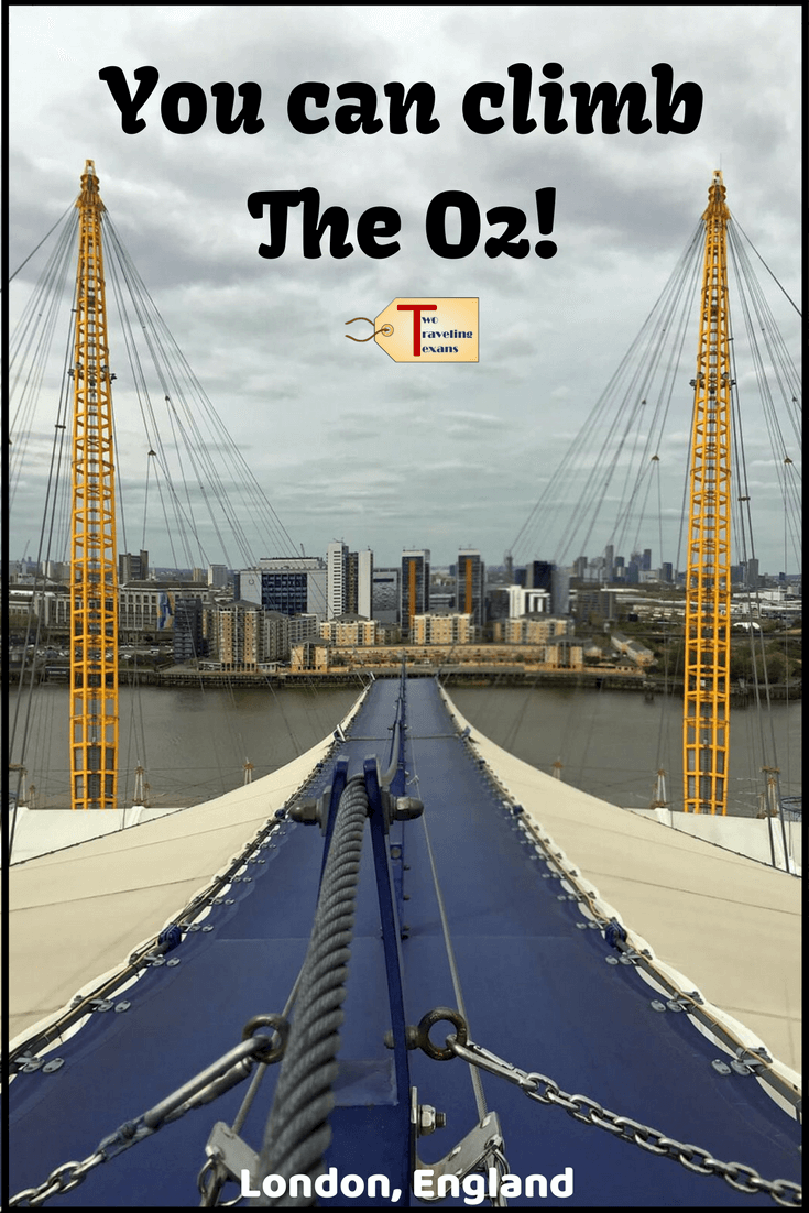 Did you know you can climb The O2 Arena in London? I was a little scared but I did it.  Click to read my detailed Up at The O2 Review and watch my O2 climb GoPro video.  It is one of the most memorable things to do in London.  #london #climbTheO2 #upatTheO2 #londonengland #thingstodoinLondon #adventuretravel #londonviews
