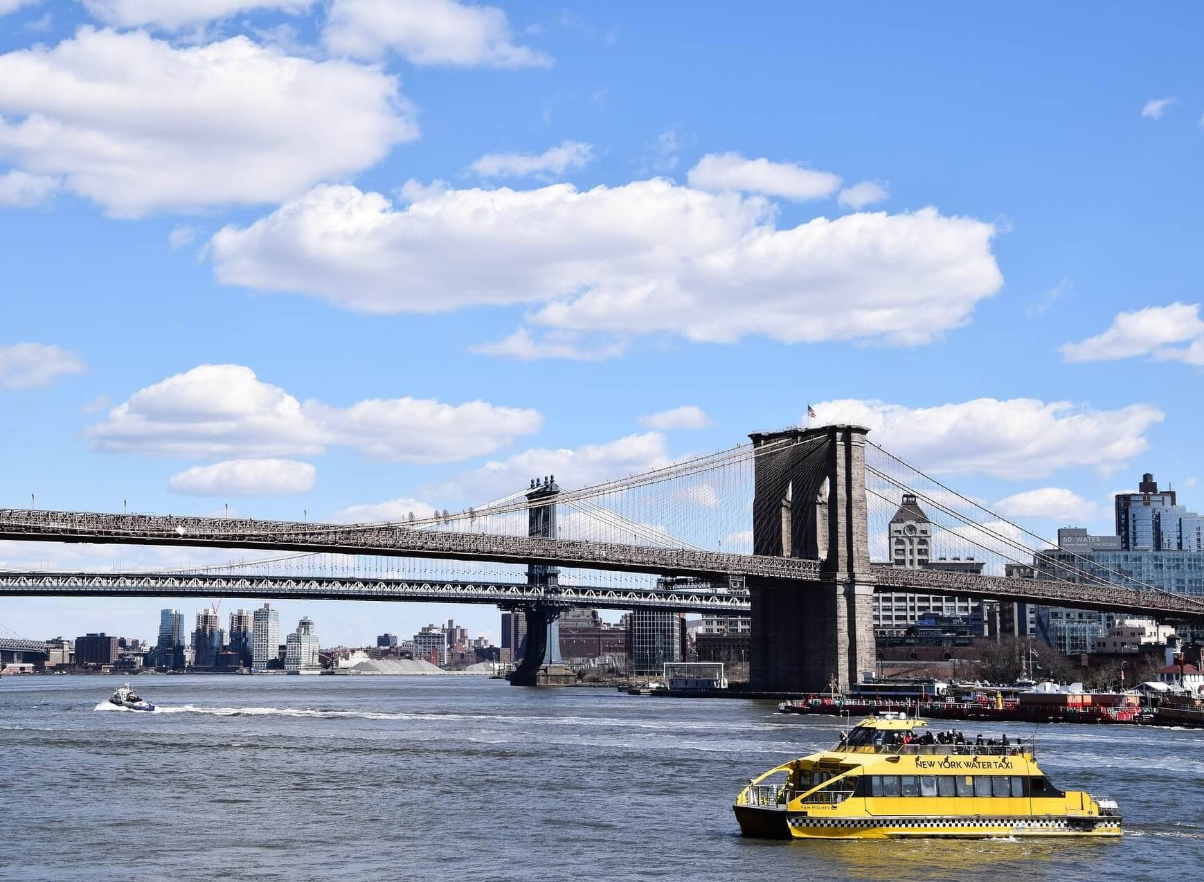 east river, brooklyn bridge, and ferry boat