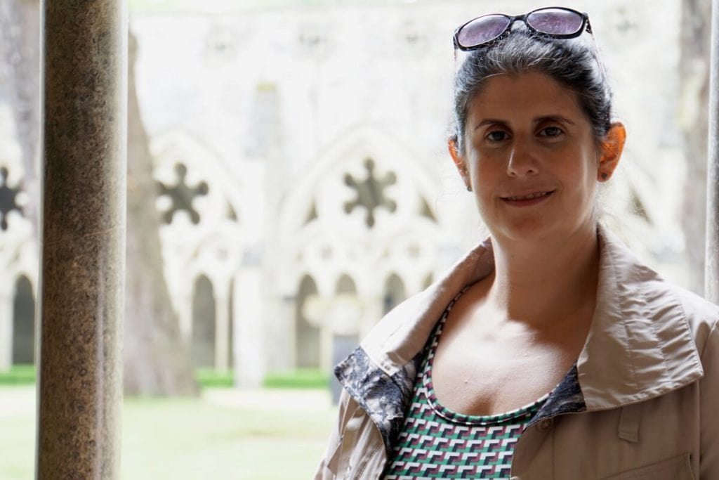 Anisa in the Cloisters of Salisbury Cathedral - Two Traveling Texans