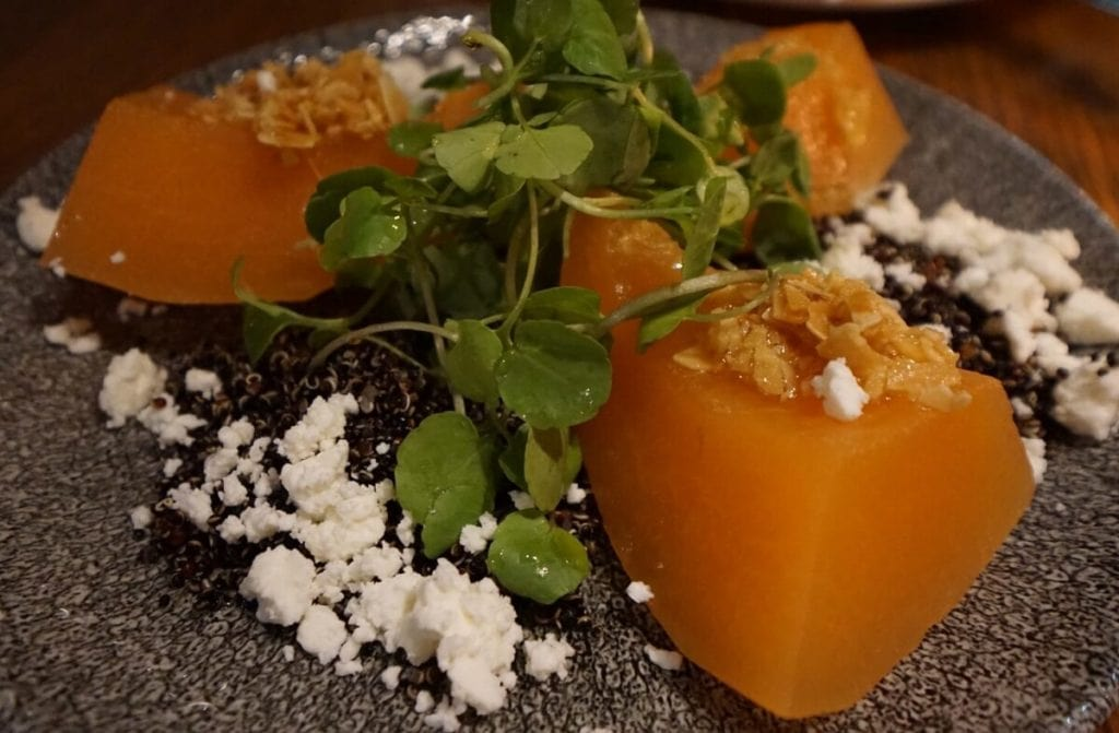 The Cantaloupe Salad at Andina was unique and delicious. - The Best Restaurants in Shoreditch - Two Traveling Texans