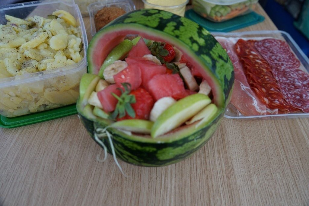 "A pretty fruit salad made on the boat. - ""Hire a Boat on the Norfolk Broads"" - Two Traveling Texans"