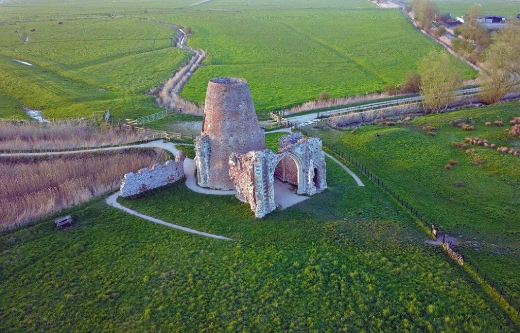 "Drone shot of what is left of St. Benet's Abbey. - ""Hire a Boat on the Norfolk Broads"" - Two Traveling Texans"