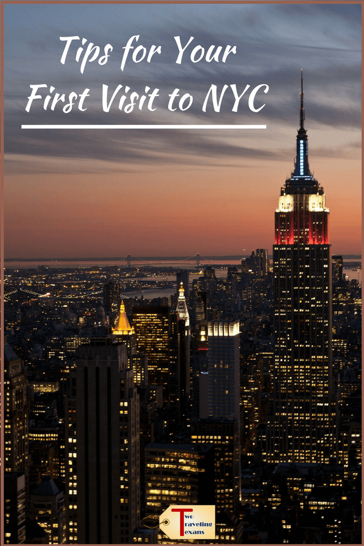 "new york city skyline with text overlay ""tips for your first visit to NYC"""