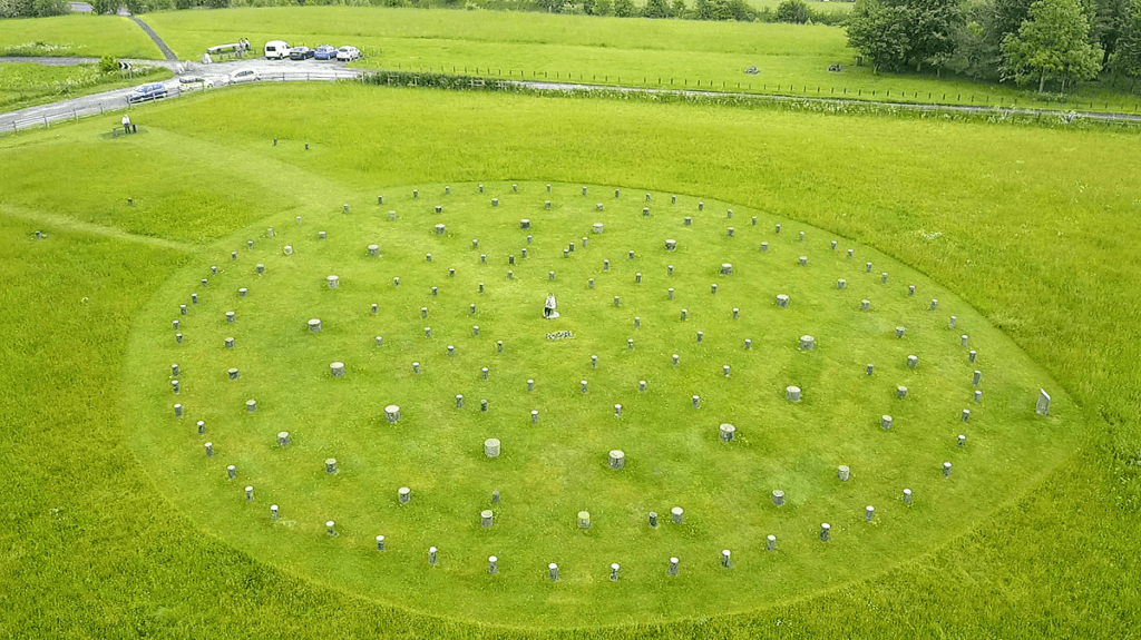 """Aerial shot of Woodhenge, can you spot Anisa? - """"Stonehenge - Centerpiece of an Ancient Landscape"""" - Two Traveling Texans"""