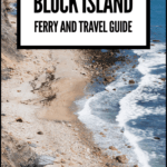 """block island rhode island with text overlay """"block island ferry and travel guide"""""""