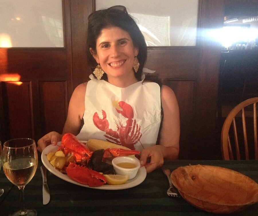 "Anisa loves her lobster! - ""Block Island Ferry and Travel Guide"" - Two Traveling Texans"