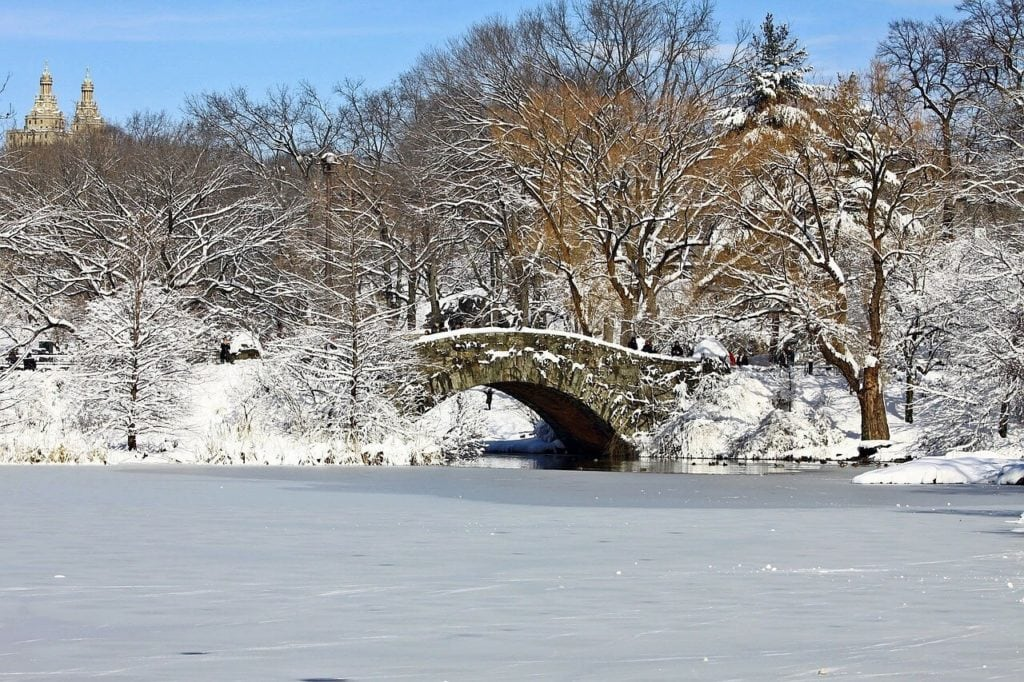 "Central Park Bridge covered in snow- ""Tips for Visiting New York City For the First Time"" - Two Traveling Texans"