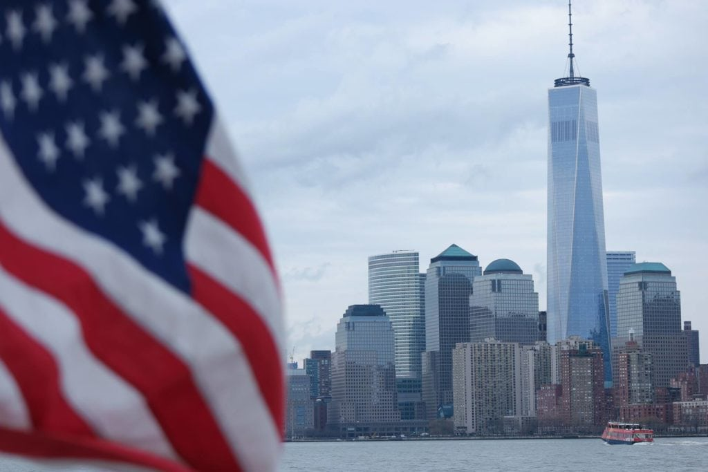 """View of One World Trade (also called the Freedom Tower) from the water. """"Tips for Visiting New York City For the First Time"""" - Two Traveling Texans"""