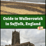 "walberswick beach and st. andrews church in walberswick with text overlay ""Guide to Walberswick in Suffolk England"""