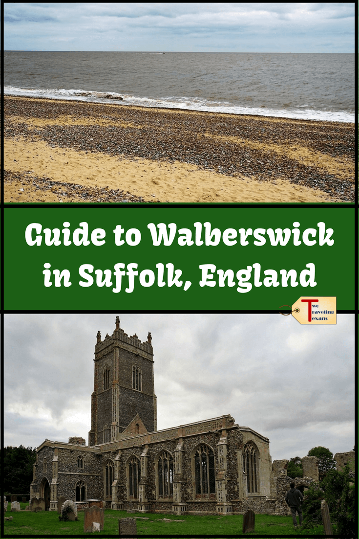 walberswick beach and st. andrews church in walberswick with text overlay