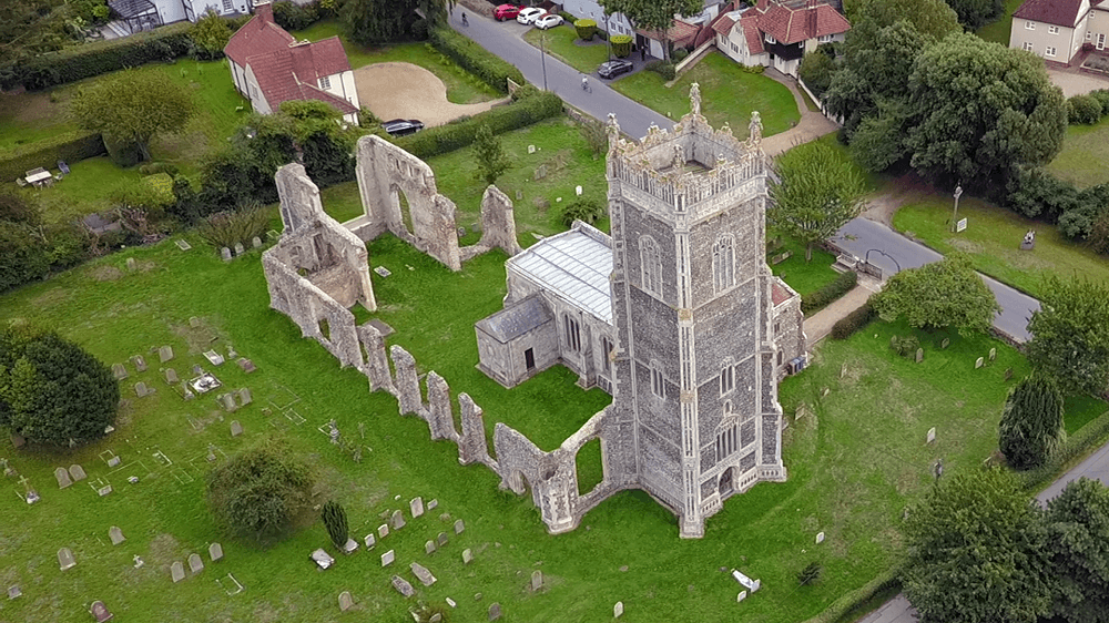 Aerial View of Walberswick Church - Two Traveling Texans