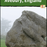 """sheep with stone from avebury stone circle with text """"neolithic sites in avebury, england"""""""