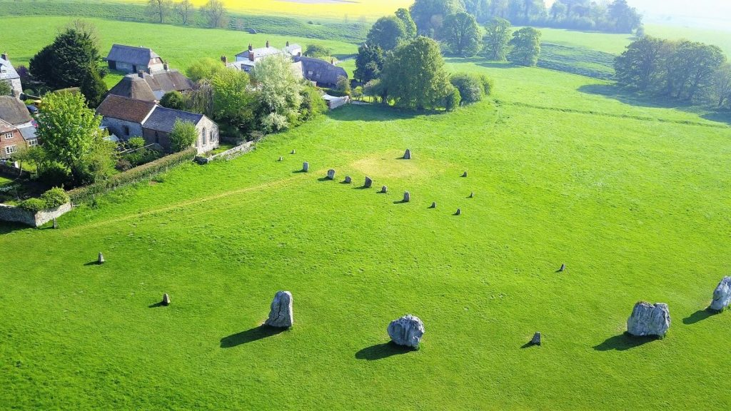 "View of some of the Avebury stones from above. - ""Avebury and Nearby Neolithic Sites in Wiltshire, England"" - Two Traveling Texans"