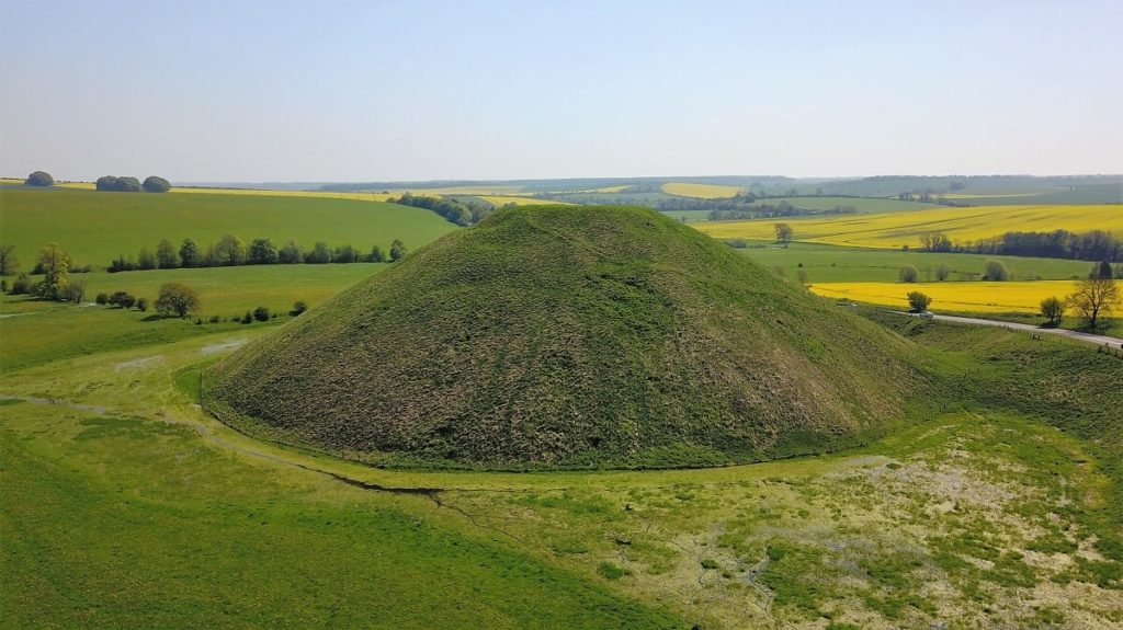 "View of Silbury Hill from our drone. - ""Avebury and Nearby Neolithic Sites in Wiltshire, England"" - Two Traveling Texans"