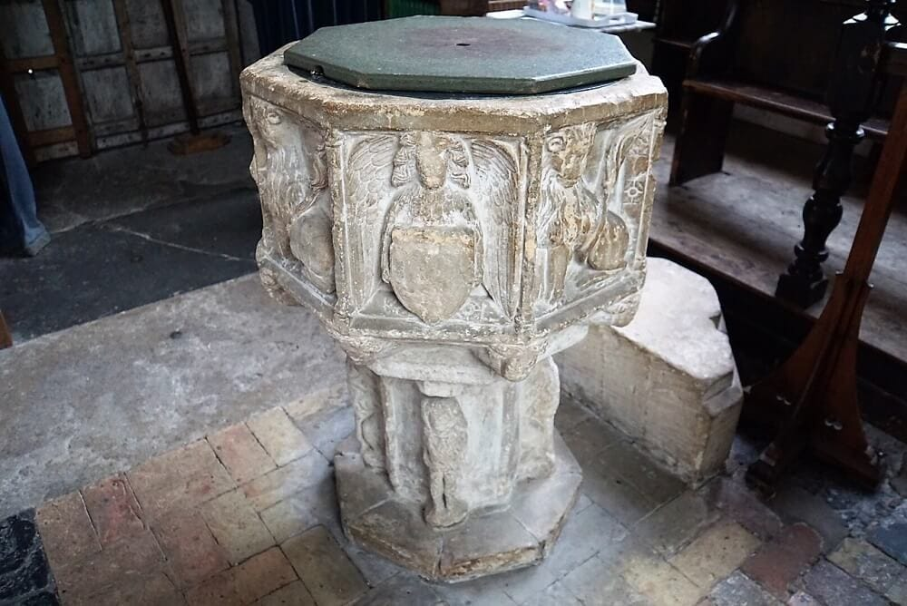 Font in St. Andrew's Church in Walberswick - Two Traveling Texans