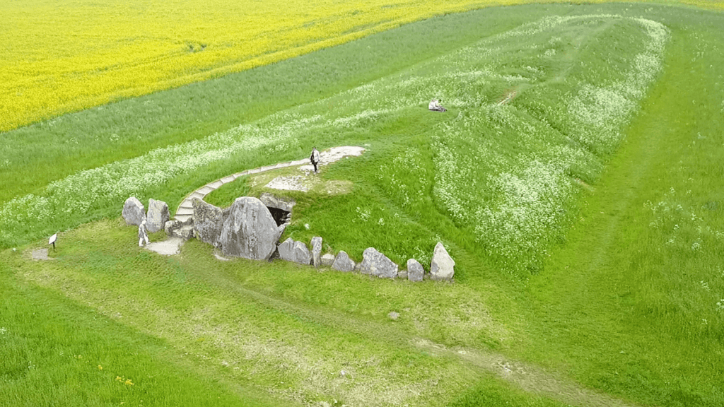 "Aerial view of the West Kennet Long Barrow. Can you spot Anisa? - ""Avebury and Nearby Neolithic Sites in Wiltshire, England"" - Two Traveling Texans"