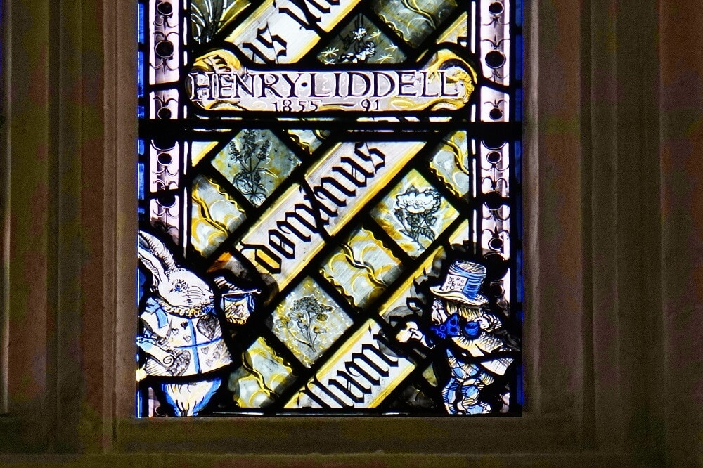 Alice in Wonderland Characters in Stained Glass - Christ Church College Oxford - Two Traveling Texans