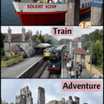 a photo of the boat, train and castle from the Sea Train Adventure Tour from Poole in Dorset England