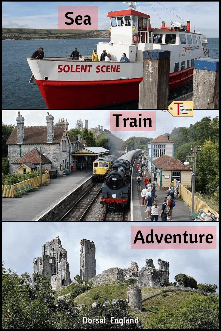 Find out more about the Sea Train Adventure in Dorset, England with City Cruises Poole.  On this boat trip from Poole, you will see Brownsea Island, Old Harry's Rocks, Swanage, Corfe Castle & more. | Corfe Castle England | Corfe Castle Village | Corfe Castle Station |  Swanage Dorset | Swanage Railway | Things to Do in Swanage | Swanage Beach