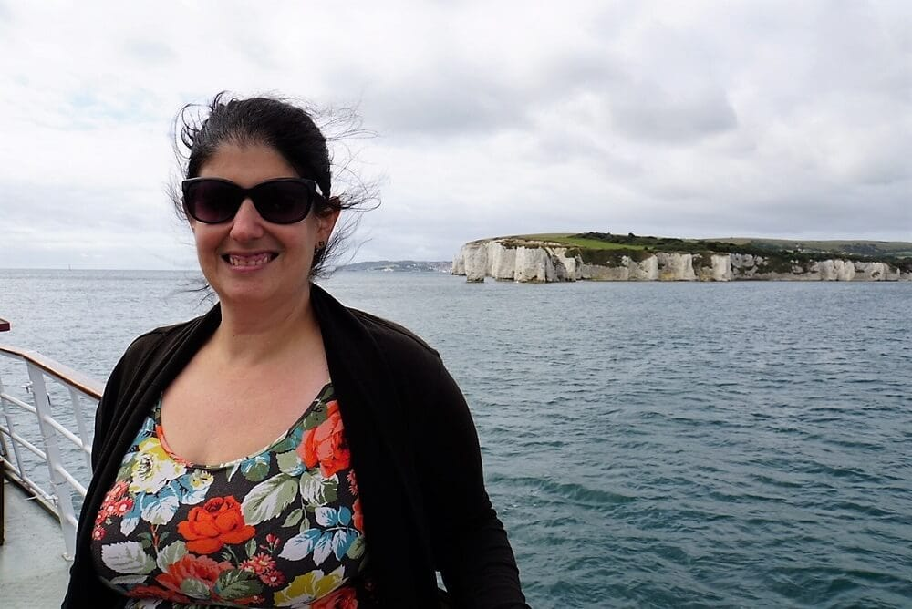 Anisa in front of Old Harry's Rocks. - Sea Train Adventure -Two Traveling Texans