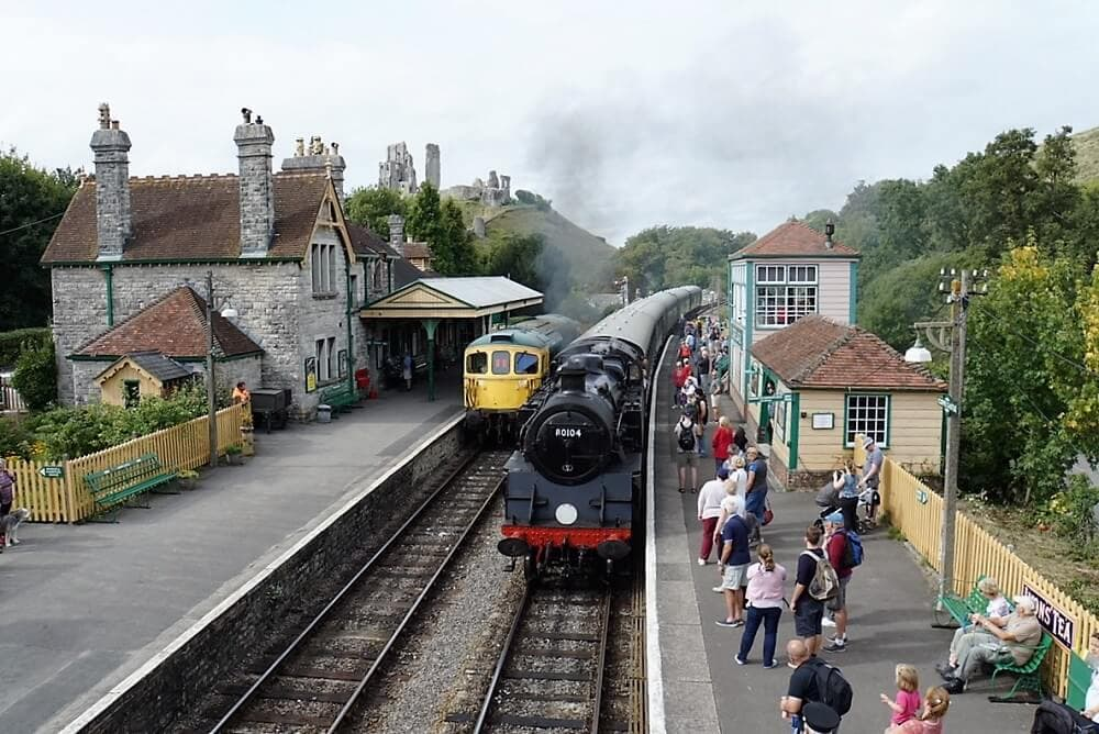 Steam Train in Corfe Castle Station - Sea Train Adventure - Two Traveling Texans