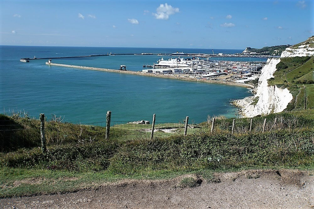 view of the Dover port from the White Cliffs - Dover Cliffs guide - Two Traveling Texans