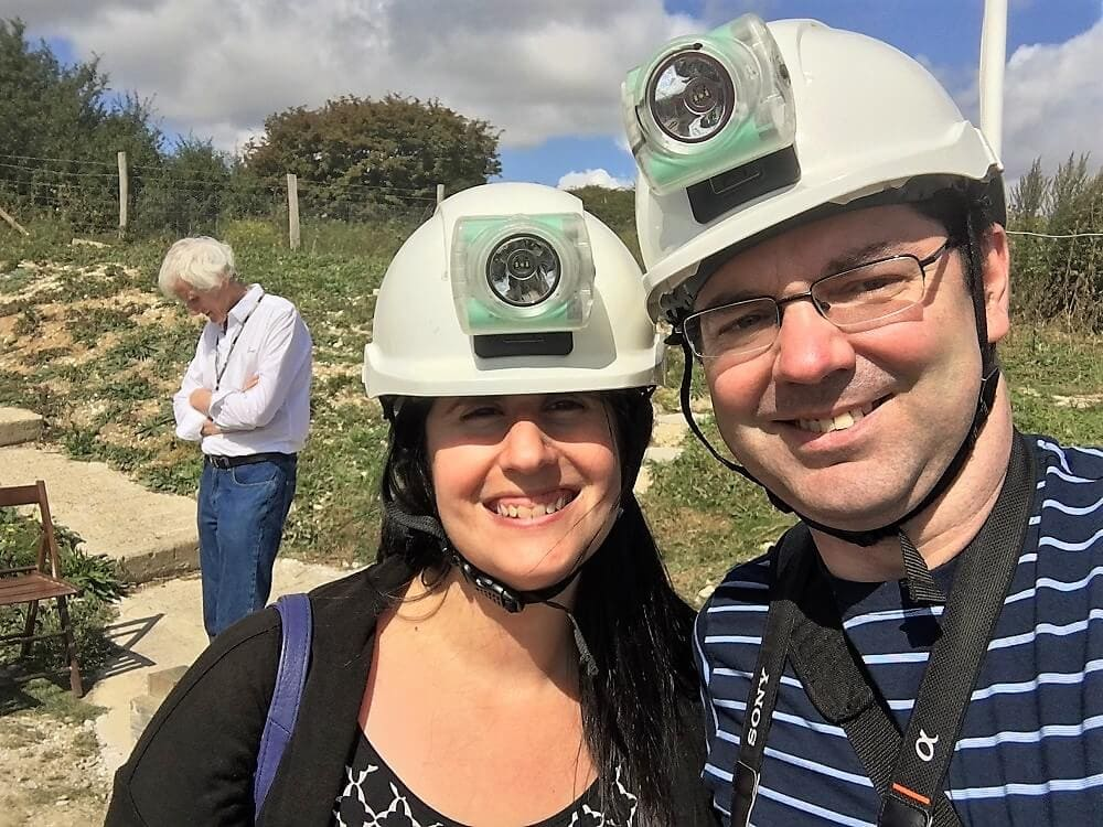 Anisa and Russell with Hard Hats on - Dover Cliffs Guide - Two Traveling Texans
