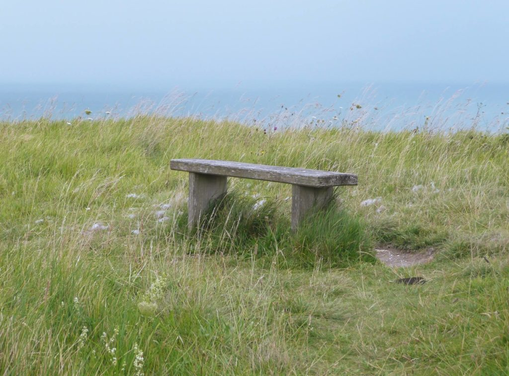 bench on the Dover Cliffs - Two Traveling Texans