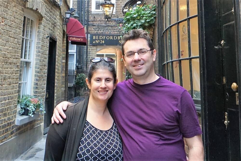 Anisa and Russell in Goodwin Court. - Harry Potter London Walking Tour - Two Traveling Texans