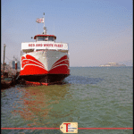 """red and white fleet boat with text overlay """"san francisco bay boat tour"""""""