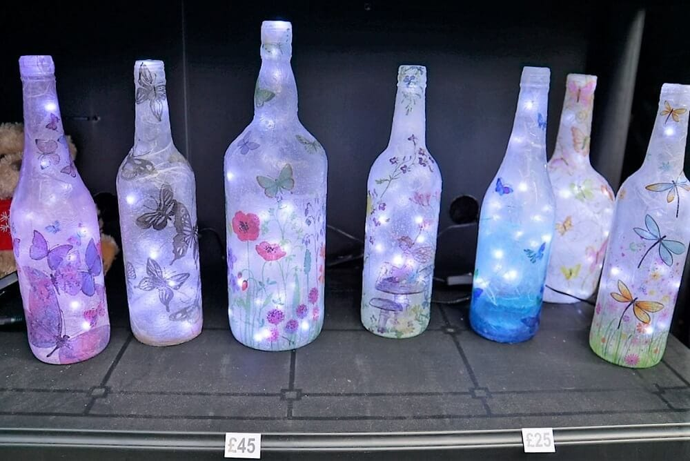 Pretty painted bottle lights from the Bury Christmas Market - Two Traveling Texans