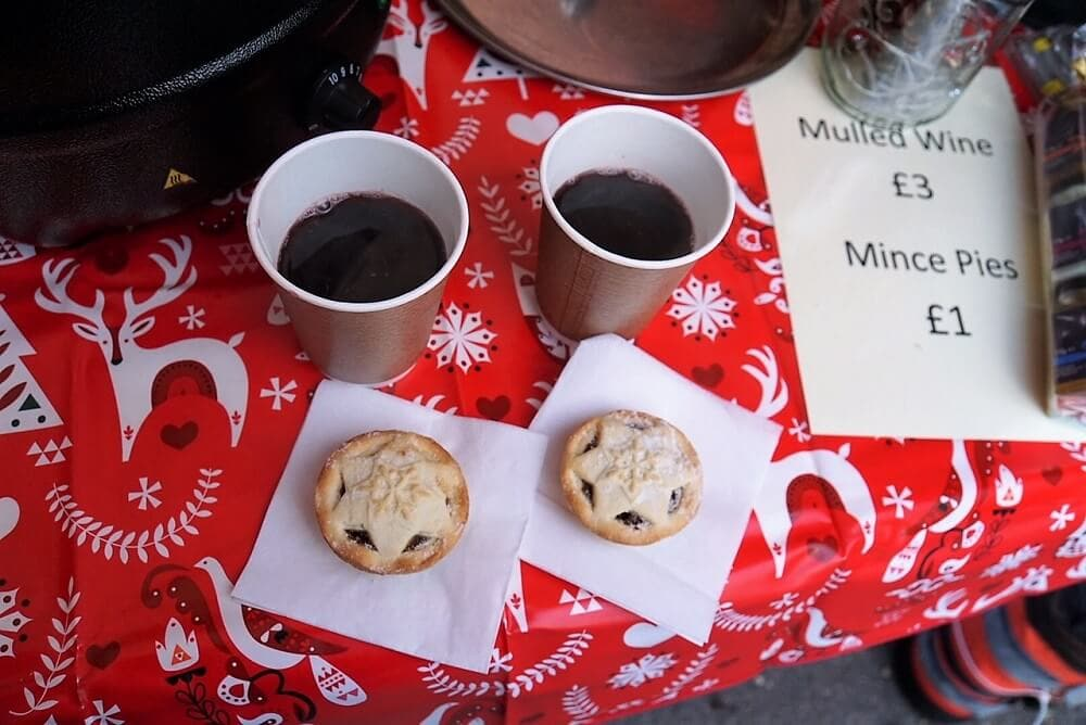 Mulled wine and minced pies at the Bury St. Edmunds Christmas Fayre - Two Traveling Texans