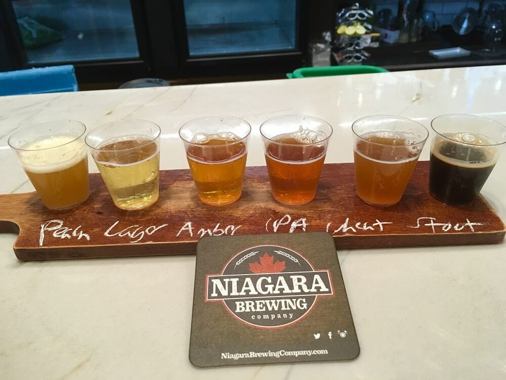 A flight of beer at Niagara Brewing Company